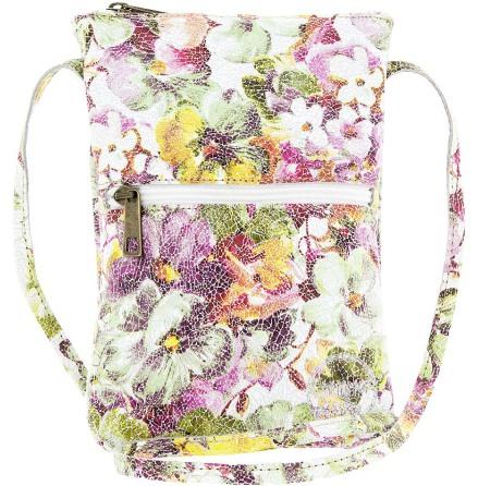 Citybag mosaik offwhite 181 i skinn med blommigt foder