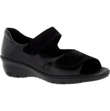 Beatrice mocka/skinn svart sandal med hälkappa och stretchparti