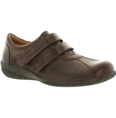Marta mörkbrun sko med mjuk front o kardborre