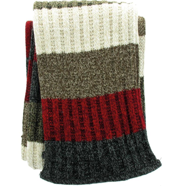 Stickad halsduk multirandig rödbrun i multirand