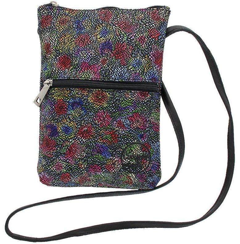 Citybag blommig mosaik svart i skinn med blommigt foder